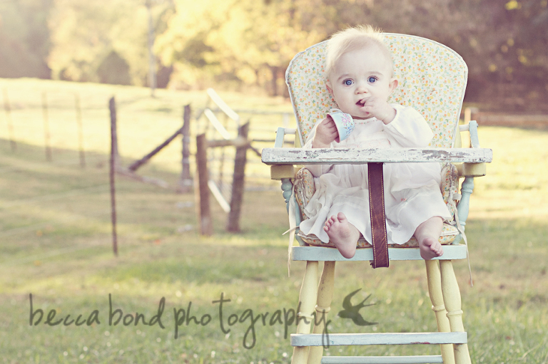 Charlotte Nc baby in vintage high chair by photographer Becca Bond