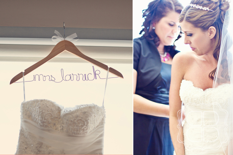 Bridal gown on handmade name hanger