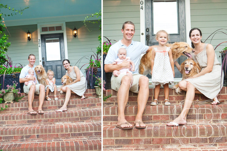 Kids with their parents and two dogs on front porch