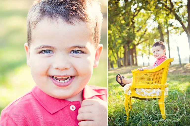 Toddler portrait on yellow chair
