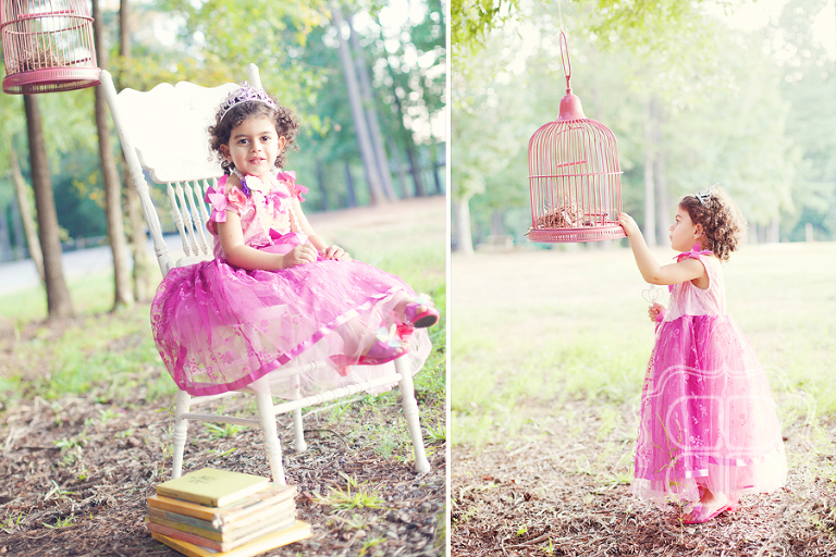A little girl dressed as a princess