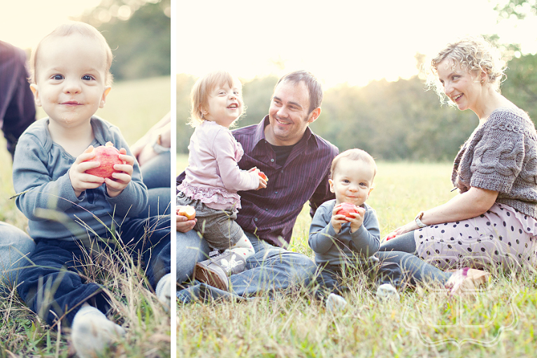 Portrait of family with child and baby outdoors Charlotte NC