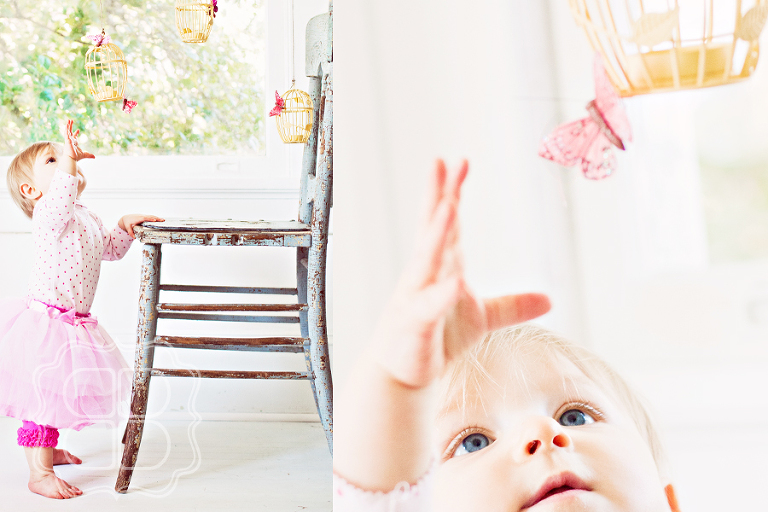 Baby photo with birdcages and butterflies