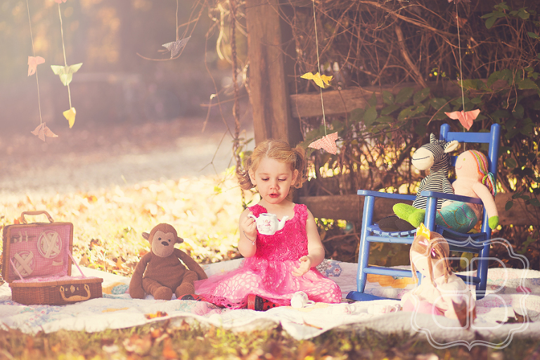 whimsical tea party children's portrait