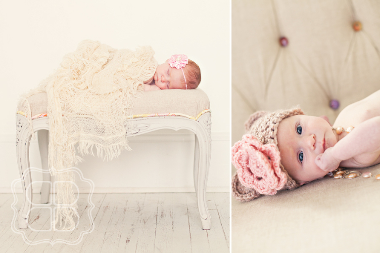 Baby on a french tufted sofa