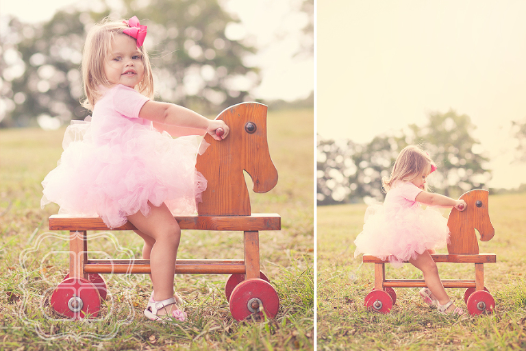 Child in tutu on horse