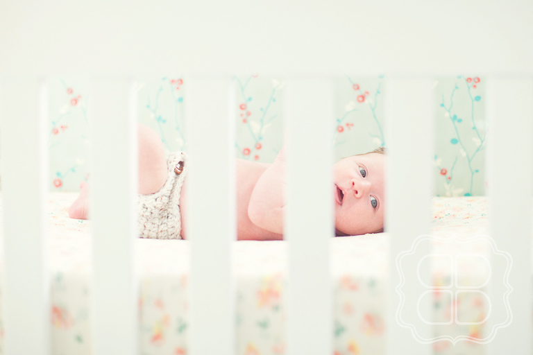 A Charlotte NC newborn photographer creates a lifestyle portrait of a newborn baby in her crib with custom bedding.