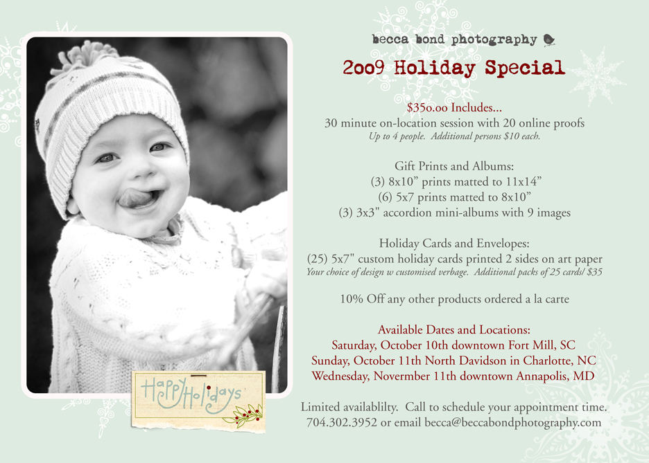 holiday specials 2009 | Charlotte Fort Mill Photographer