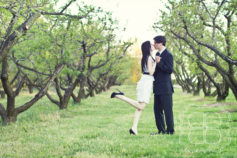 A kiss in an orchard captured by Charlotte wedding photographer.