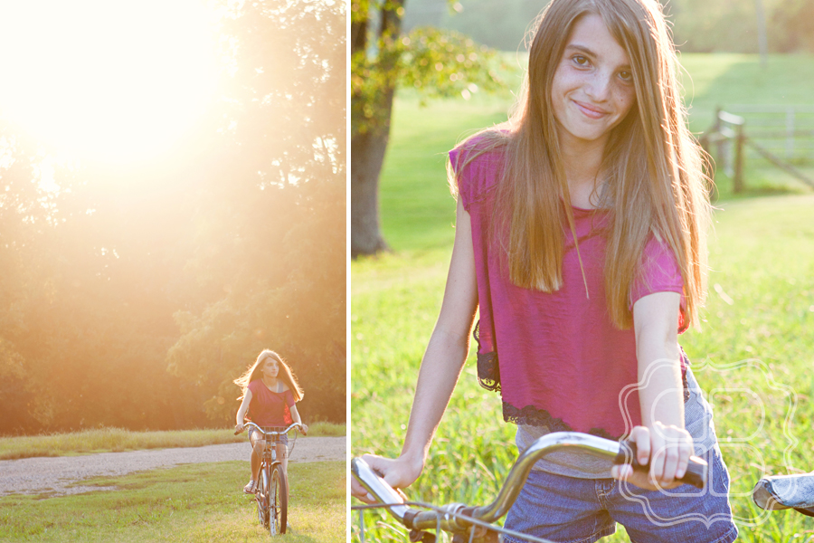 Photo of girl on vintage cruiser bike in Charlotte NC