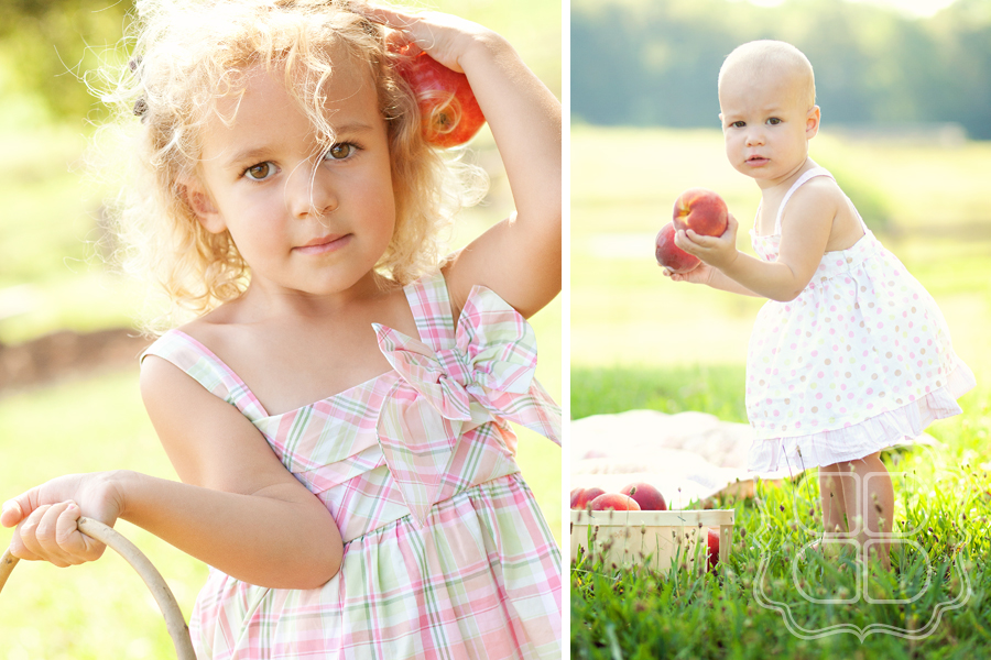 Children's photography with orchard fruit